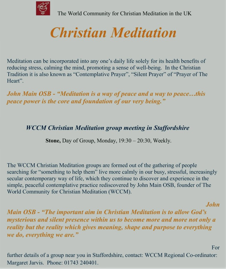 Christian Meditation Poster To CLASP Staffordshire-1