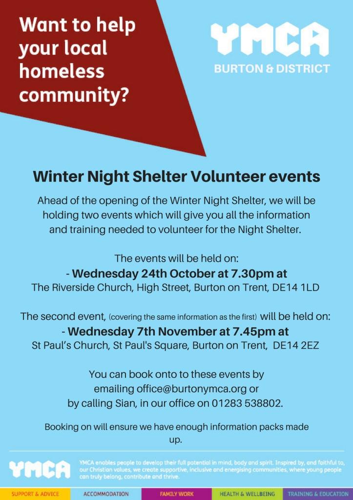 Winter Night Shelter Volunteer events in Burton (Nov 2018)