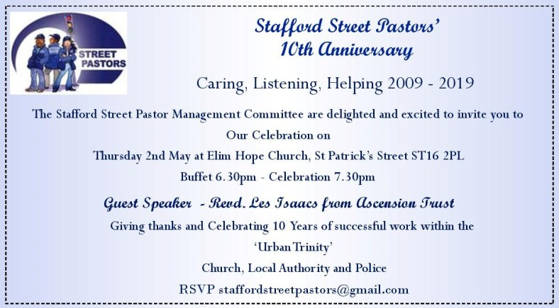 10th annivesary stafford street pastors (may 2019)