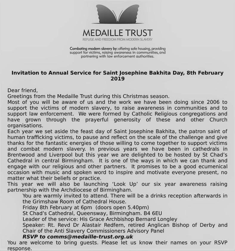 invitation to bakhita day (8 february 2019)