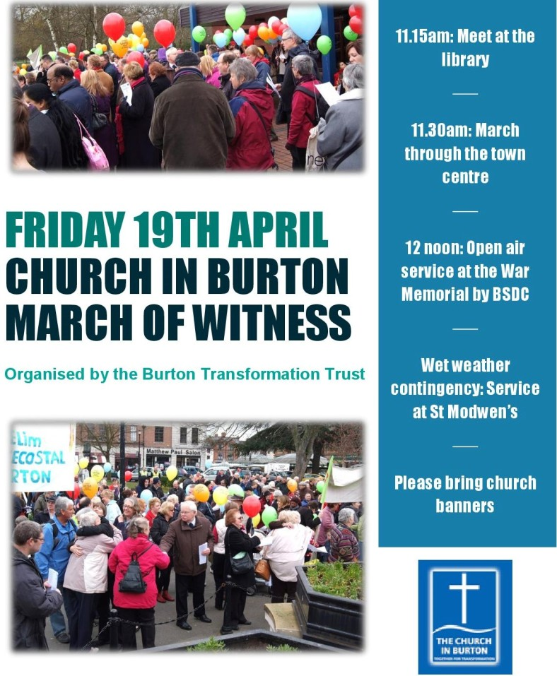 Burton Good Friday march of witness poster 2019