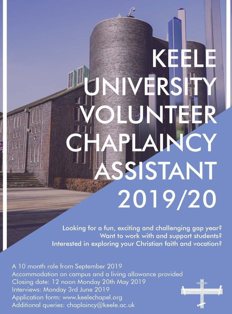 Keele Chapel voluntary assistant (May 2019)