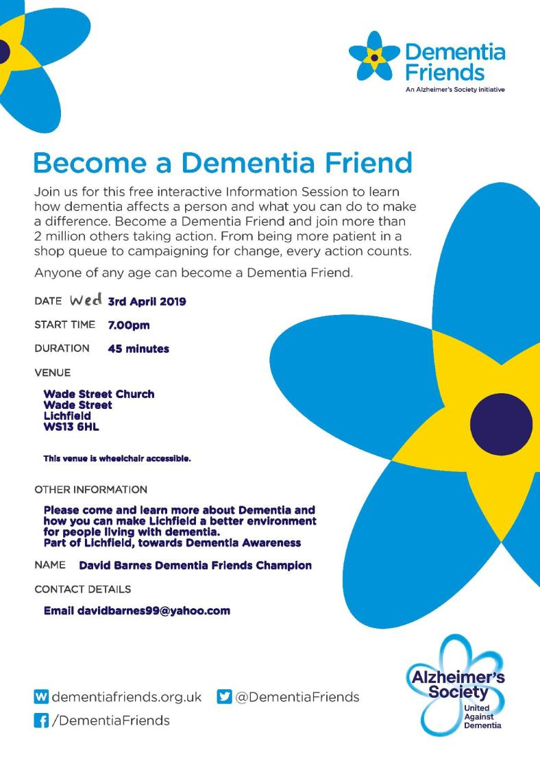 Lichfield Dementia friends (April 2019)
