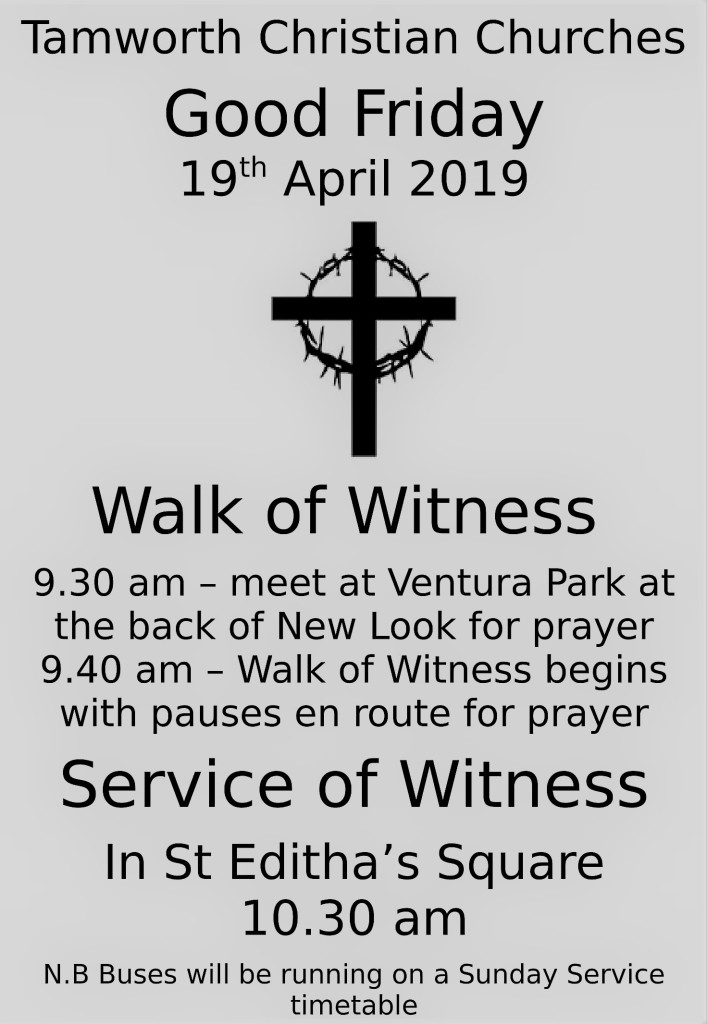 Tamworth churches Good Friday walk of witness (April 2019)