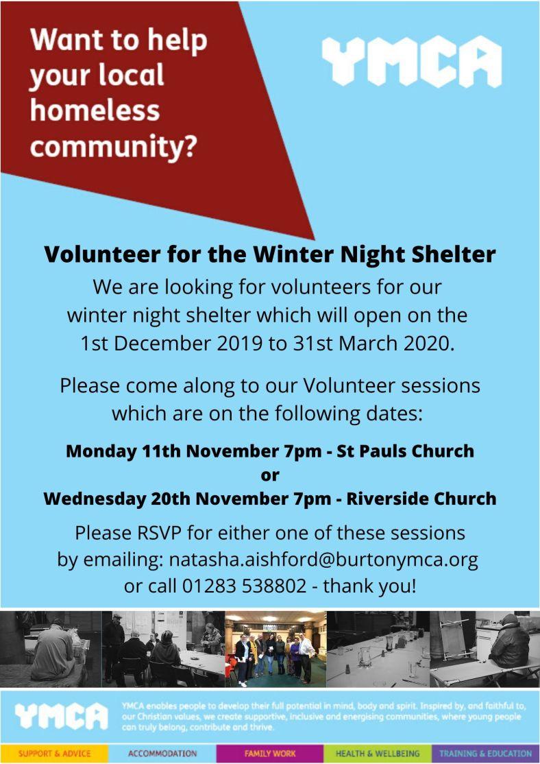 Volunteer for the Burton Winter Night Shelter 2019